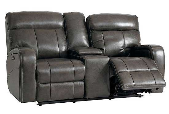 Beaumont Leather Reclining Loveseat with Console