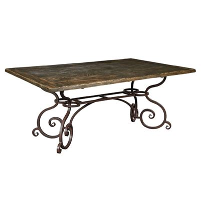 "72"" Rectangular Dining Table with Metal Base (Black Forest)"