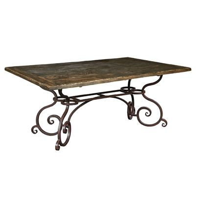Picture of Rectangular Dining Table with Metal Base (Black Forest)