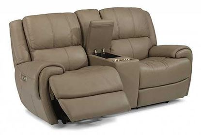 Nance Power Reclining Leather Loveseat with Console