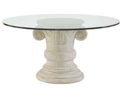 Campania Round Dining Table Glass Top and Pedestal Base
