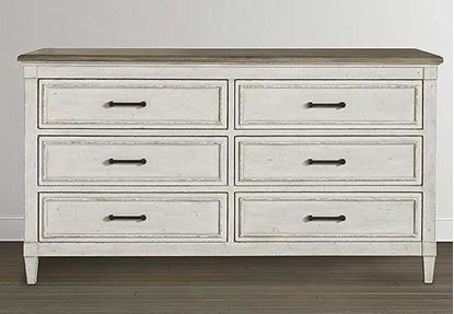 Bella 6 Drawer Wood Top Dresser