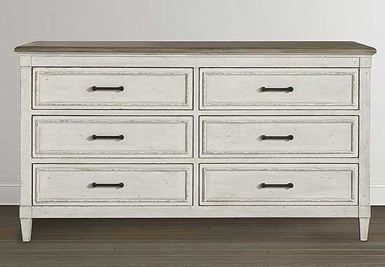 Bella 6 Drawer Wood Top Dresser