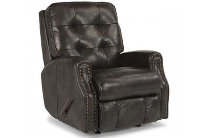 Devon Swivel Gliding Leather Recliner with Nailhead Trim