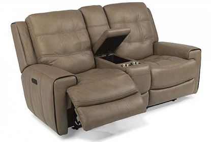 Wicklow Reclining Leather Loveseat with Console